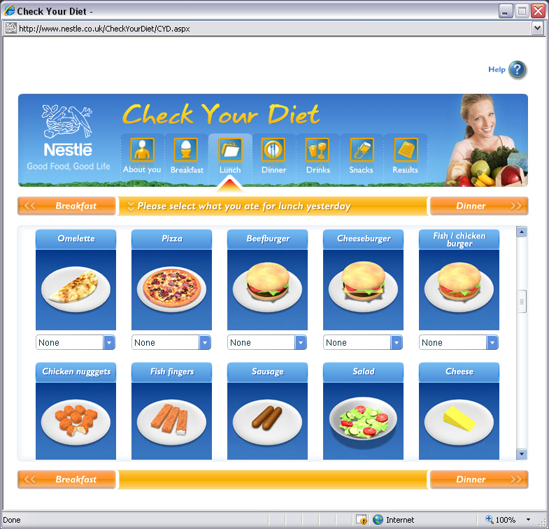 Nestlé – Check Your Diet lunch page