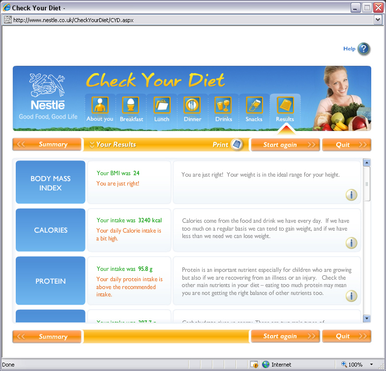 Nestlé – Check Your Diet results page