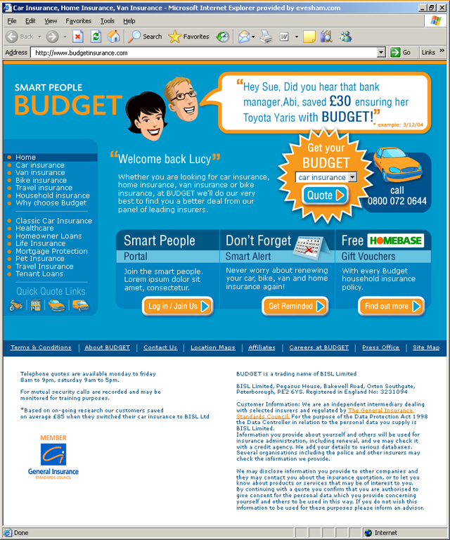 Budget Insurance homepage