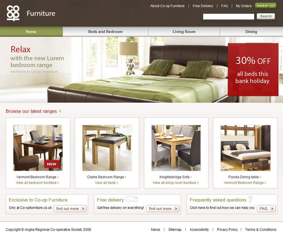 Co–op Furniture home – Final design