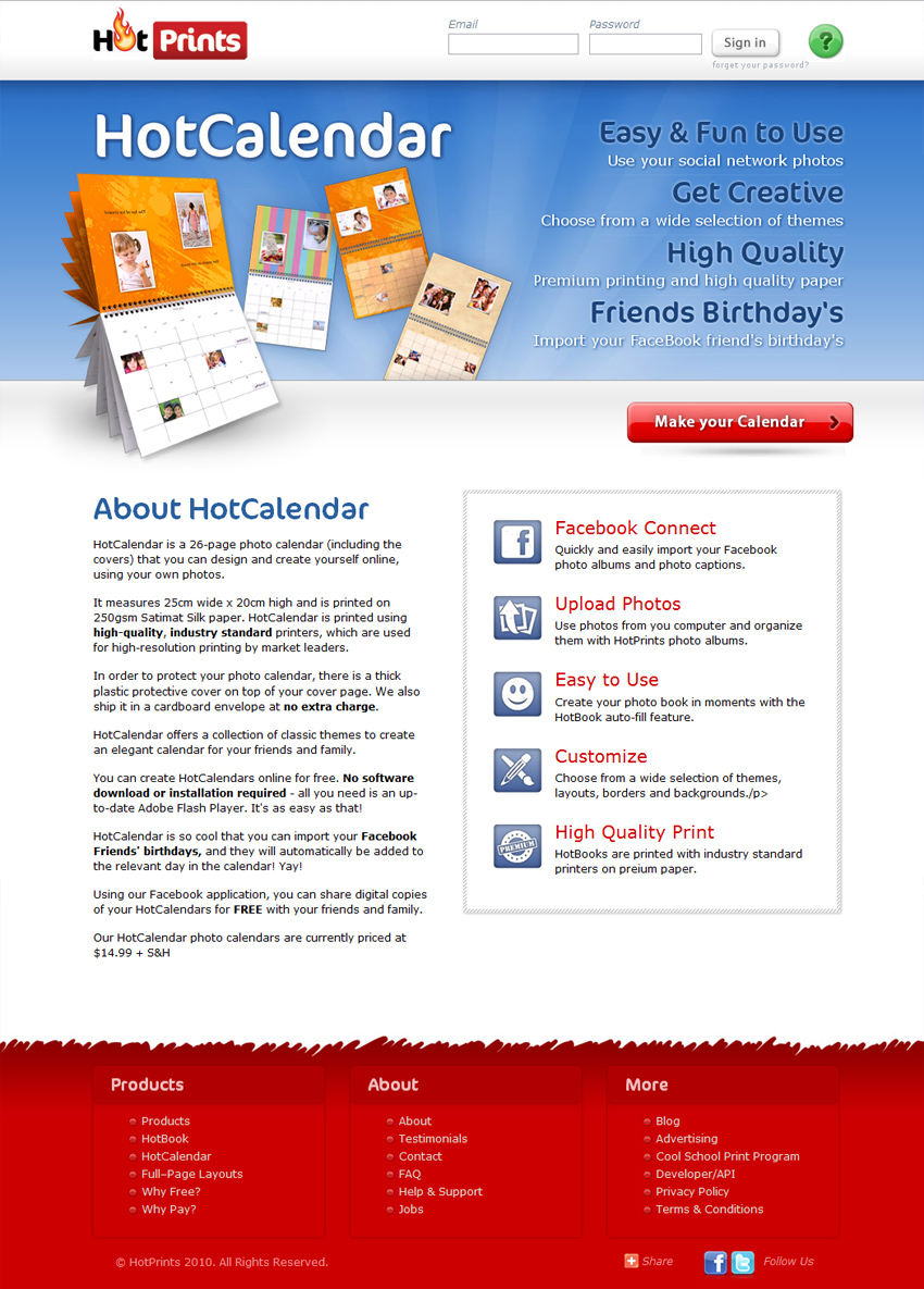 HotPrints Website - Hot Calendar