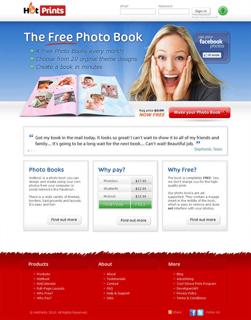 HotPrints Website - Homepage
