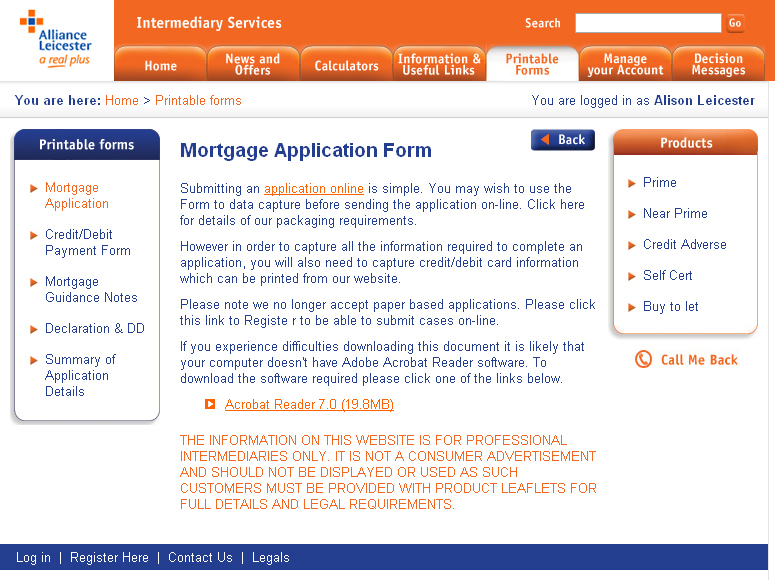 Alliance & Leicester Intermediaries internal page